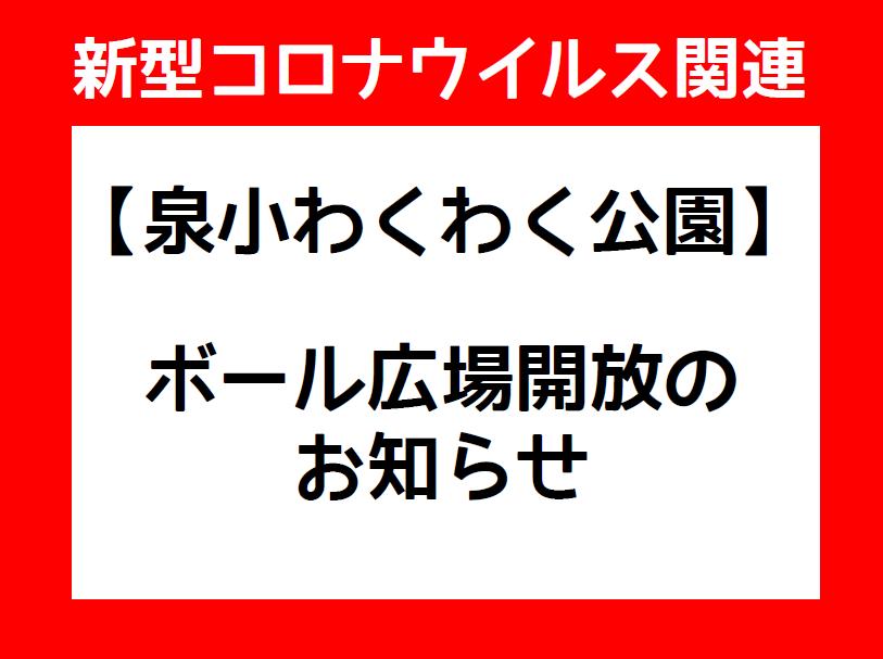 【泉小わくわく】ボール広場開放のお知らせ